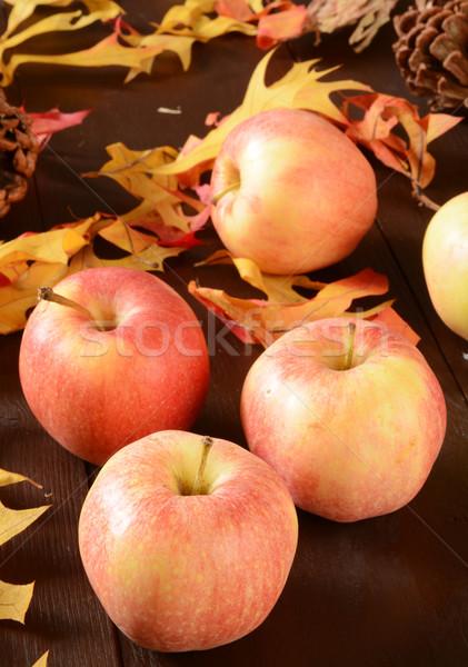 Zbiorów jabłka organiczny gala drewniany stół Zdjęcia stock © MSPhotographic