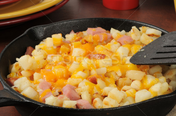 Hash browns with ham and cheese Stock photo © MSPhotographic