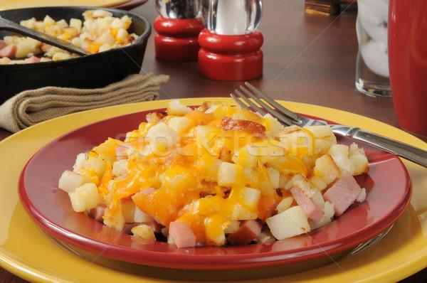 Сток-фото: сыра · ветчиной · жареный · картофель · продовольствие · растительное