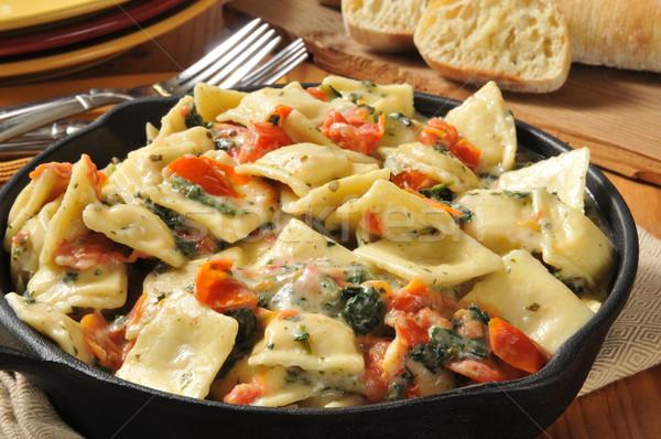 ıstakoz ravioli akşam yemeği makarna domates Stok fotoğraf © MSPhotographic