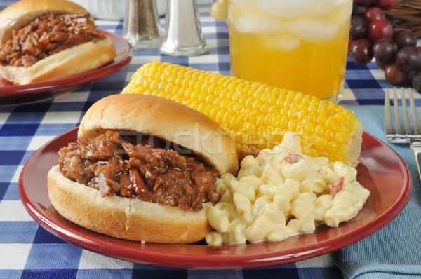 Foto d'archivio: Barbecue · carne · sandwich · mais · maccheroni · insalata