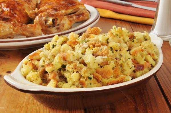 Maïs pain farce poulet bol alimentaire Photo stock © MSPhotographic