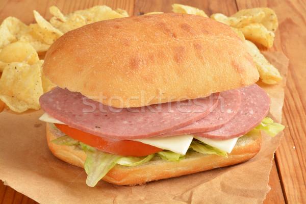 Salami and cheese sandwich Stock photo © MSPhotographic