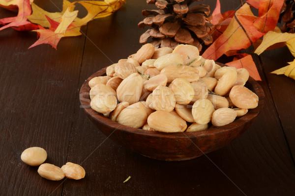Mandulák kicsi fából készült tál só rozmaring Stock fotó © MSPhotographic