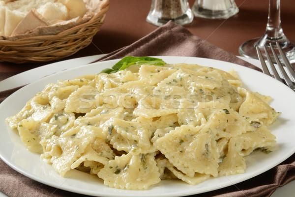 Farfalle pasta with pesto sauce Stock photo © MSPhotographic