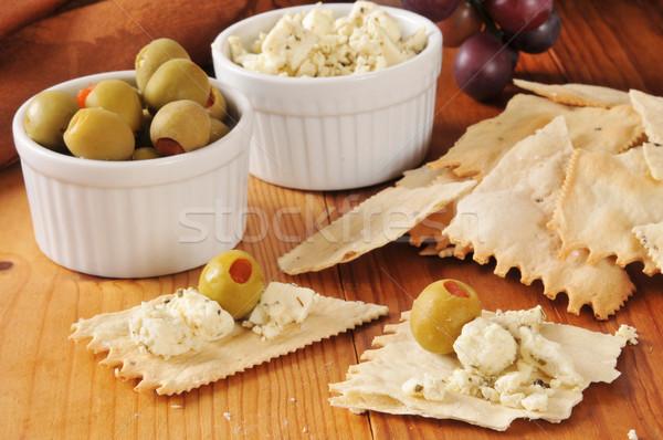 Olijven middellandse zee snack tabel tarwe Stockfoto © MSPhotographic