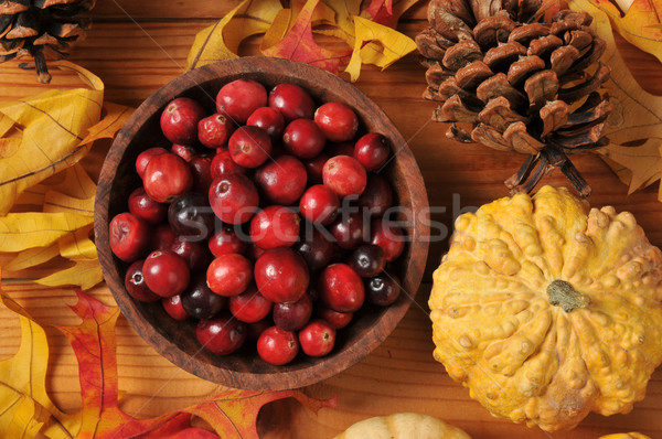 Wooden bowl of cranberries Stock photo © MSPhotographic