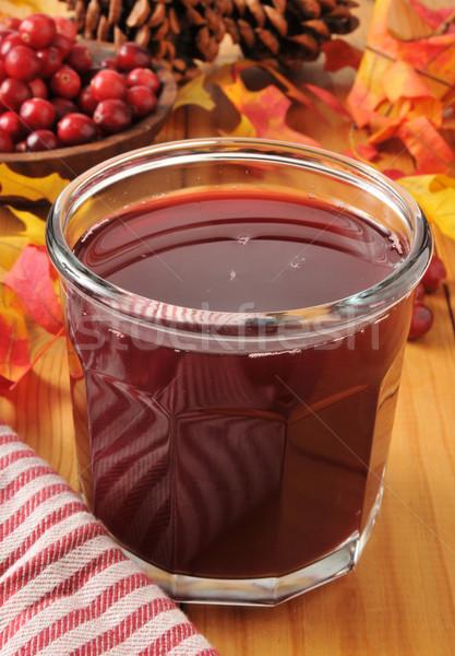 Vörösáfonya dzsúz üveg aratás ősz ünnep Stock fotó © MSPhotographic