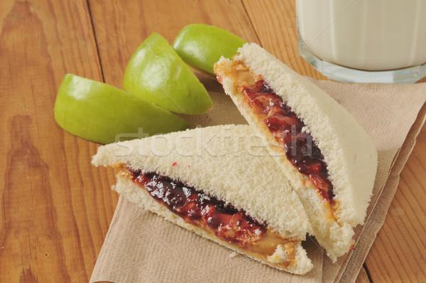 Арахисовое масло желе сэндвич Cut стекла Сток-фото © MSPhotographic