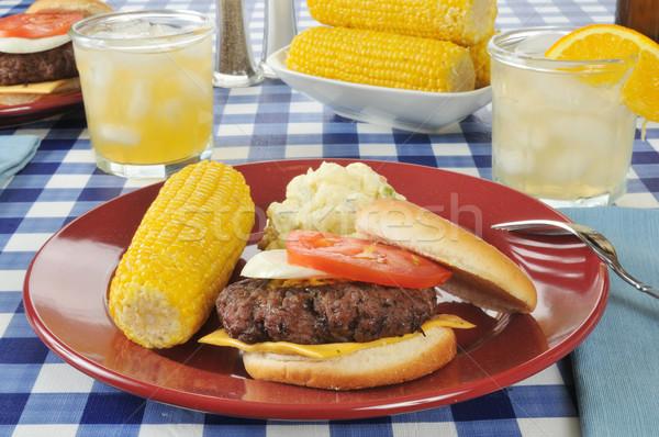 Cheeseburger mais insalata di patate tavolo da picnic vetro tavola Foto d'archivio © MSPhotographic