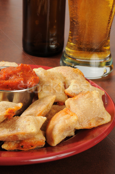 Pizza rolls and beer Stock photo © MSPhotographic