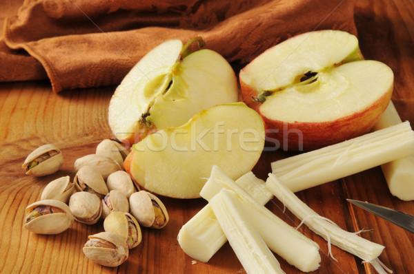 Egészséges falatozó pisztácia diók almák fonal Stock fotó © MSPhotographic