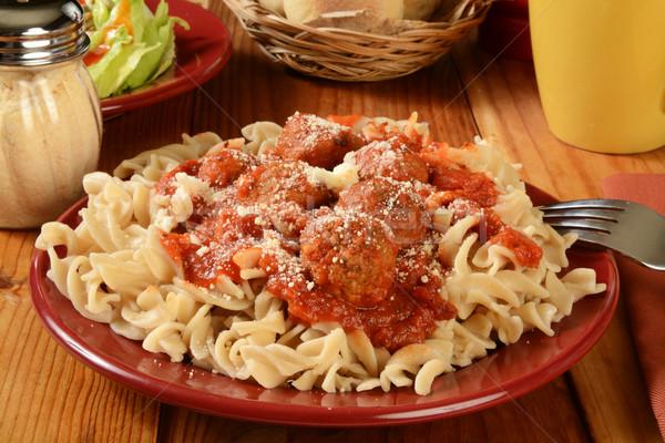 Glutensiz makarna akşam yemeği İtalyan köfte sos Stok fotoğraf © MSPhotographic