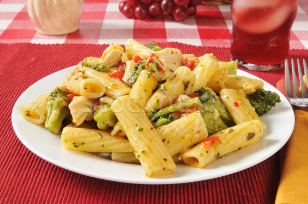 Chicken on rigatoni with garlic olive oil sauce Stock photo © MSPhotographic