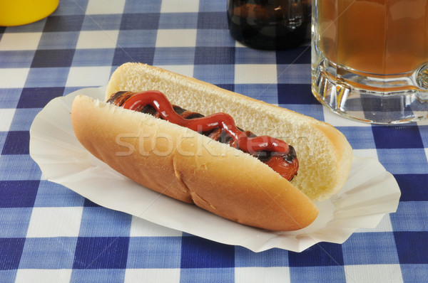 Grilled hot dog with beer Stock photo © MSPhotographic