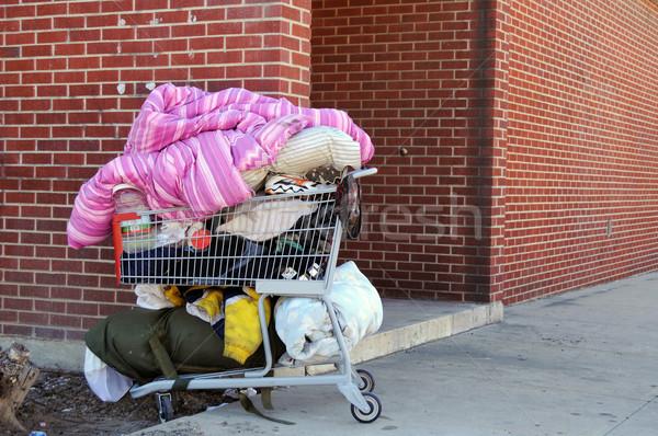 Hajléktalan személyek bevásárlókocsi téglafal szegénység koszos Stock fotó © MSPhotographic
