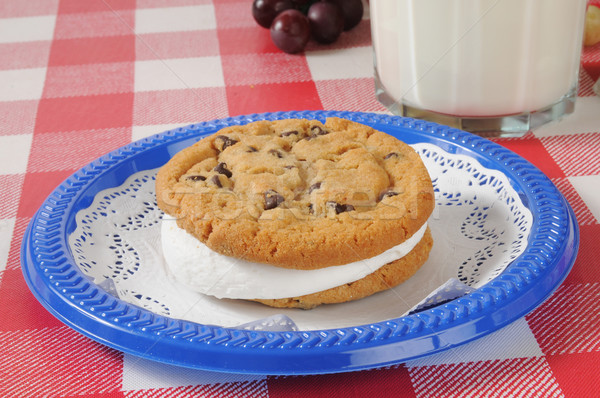 Stock photo: Chocolate chip cookie sandwich