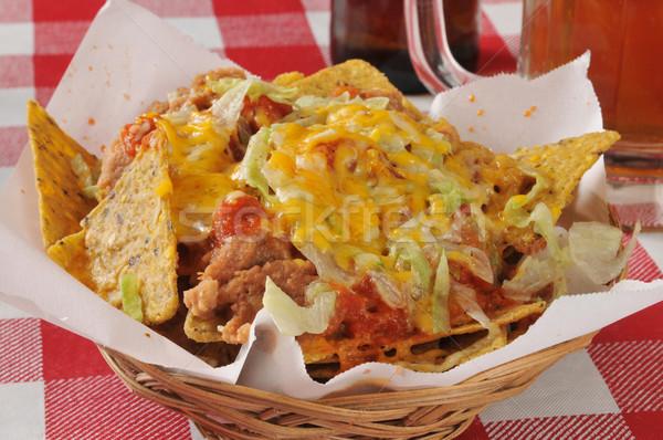 Bab sajt nachos kosár fekete kukorica Stock fotó © MSPhotographic