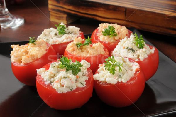фаршированный помидоров краба шпинат соус томатный Сток-фото © MSPhotographic
