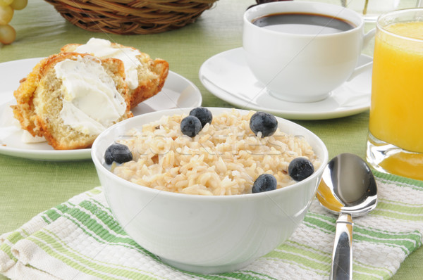 Brown rice with milk and a muffin Stock photo © MSPhotographic