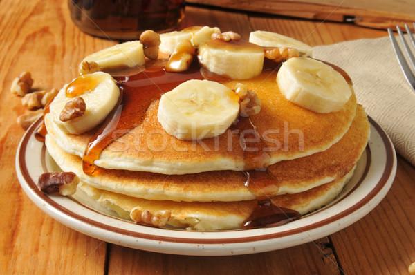 Banana nut pancakes Stock photo © MSPhotographic