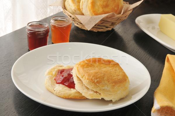 свежие печенье Jam клубника продовольствие Сток-фото © MSPhotographic