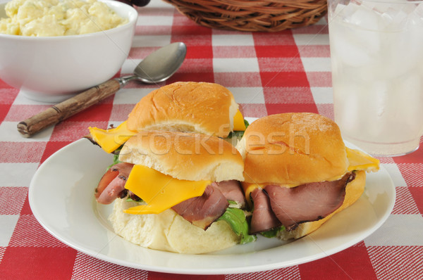 Roast beef sliders on a picnic table Stock photo © MSPhotographic