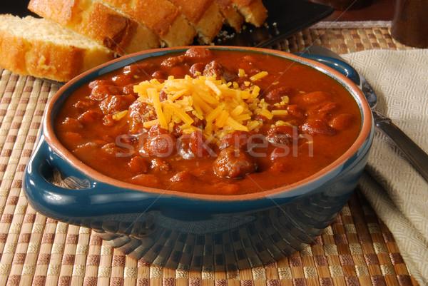 Stockfoto: Chili · kom · hot · cheddar · kaas · voedsel