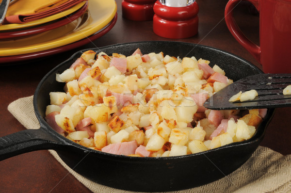 Southern style hash browns and ham Stock photo © MSPhotographic
