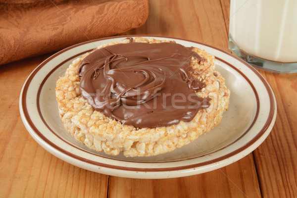 Stock photo: Rice cake with hazlenut spread