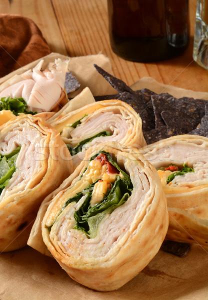 Turkey wrap sandwich Stock photo © MSPhotographic