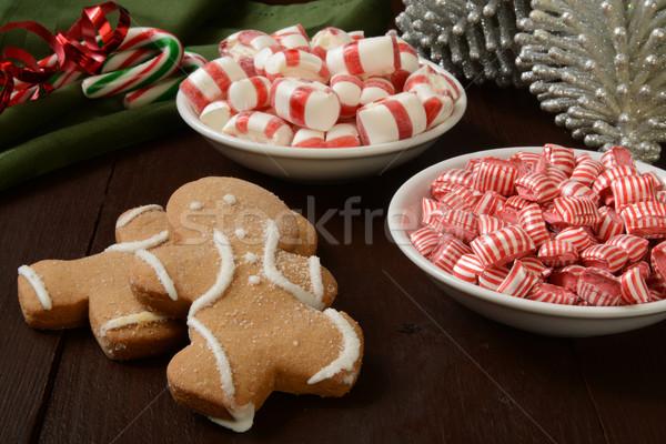 Sweet Noël collations pain d'épice hommes menthe poivrée Photo stock © MSPhotographic