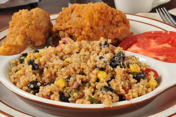 Blackbean quinoa salad with fried chicken Stock photo © MSPhotographic