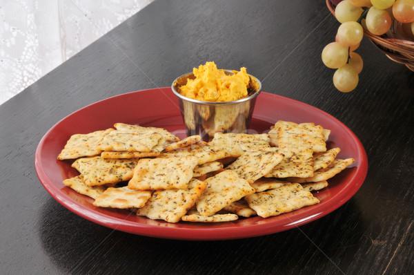 Szalonna cheddar sajt tányér búza Stock fotó © MSPhotographic
