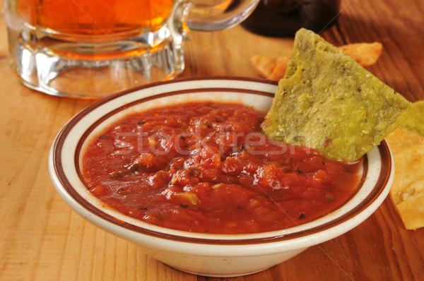 Tortilla cips salsa sebze bira Stok fotoğraf © MSPhotographic