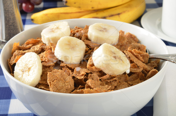 Bran cereal with sliced bananas Stock photo © MSPhotographic