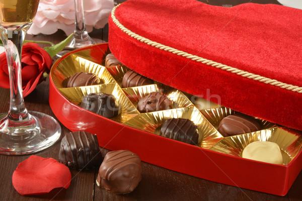 Doboz bársony gurmé valentin nap szeretet pezsgő Stock fotó © MSPhotographic