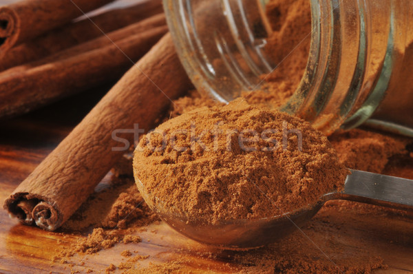 Fahéj közelkép közelkép teáskanál tele sekély Stock fotó © MSPhotographic