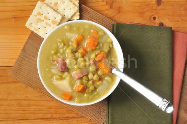 Stockfoto: Soep · ham · wortelen · voedsel · diner · lunch