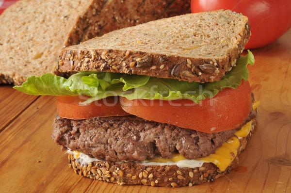 Homemade hamburger sandwich Stock photo © MSPhotographic