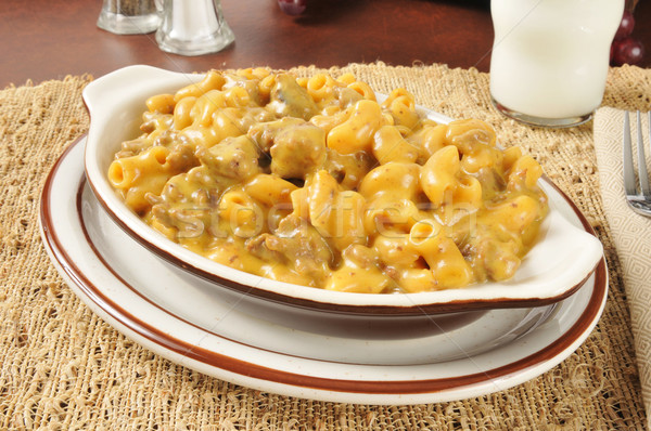 Cheesy macaroni and beef casserole Stock photo © MSPhotographic