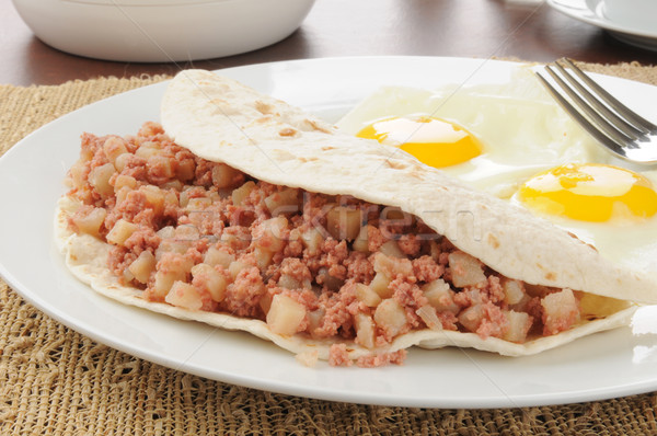 Corned beef hash breakfast burrito Stock photo © MSPhotographic
