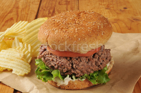 Thick juicy hamburger Stock photo © MSPhotographic