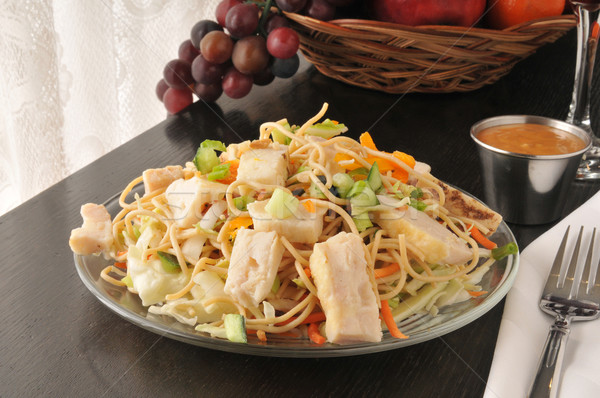 Taylandlı tavuk salatası bütün tahıl makarna Stok fotoğraf © MSPhotographic