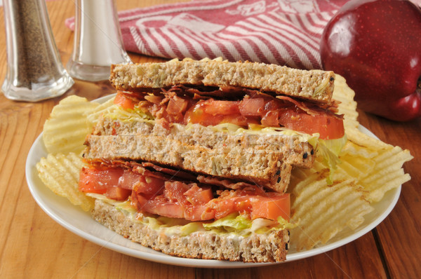 BLT Sandwich on Whole Wheat Bread Stock photo © MSPhotographic