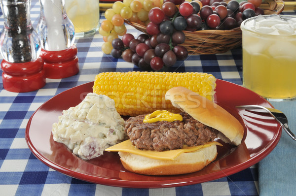 Cheese burger with corn on the cob Stock photo © MSPhotographic