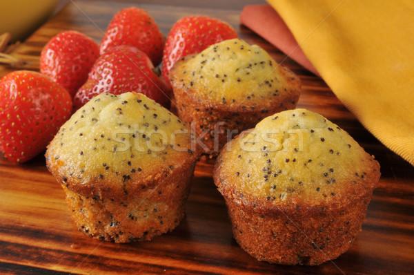 Poppyseed muffins with strawberries Stock photo © MSPhotographic