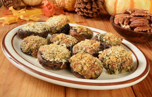 фаршированный грибы шпинат моцарелла пармезан продовольствие Сток-фото © MSPhotographic