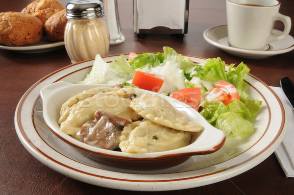 Chicken portabella ravioli and salad Stock photo © MSPhotographic