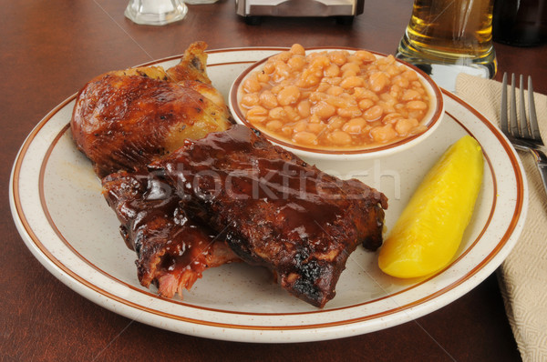 Barbecued chicken and ribs Stock photo © MSPhotographic